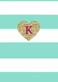 K background #wallpaper #mint #gold #K #heart