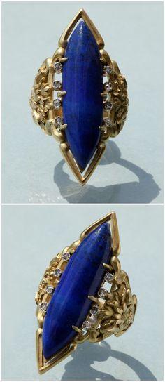 LOUIS WIÈSE 1852-1923 | Art Nouveau Cornflower Ring.  Lapis Lazuli, Diamond, 18k Gold. France circa 1900.