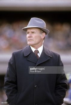 Head coach <a gi-track='captionPersonalityLinkClicked' href=/galleries/search?phrase=Tom+Landry&family=editorial&specificpeople=240241 ng-click='$event.stopPropagation()'>Tom Landry</a> of the Dallas Cowboys watches the action from the sidelines during a circa 1970s NFL football game. Landry coached the Cowboys from 1960-88.