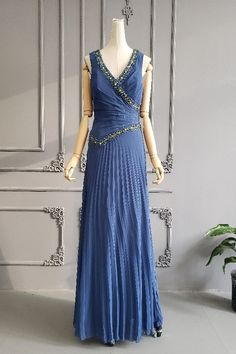 Graceful A Line Long Dusty Blue Chiffon Pleated And Beaded Prom Party Dress V Neck Sleeveless Winter Prom Dresses, Royal Blue Prom Dresses, Prom Party Dresses, Formal Dresses, Orange Blush, Purple Grey, Prom Dresses Online, Dusty Blue, Chiffon