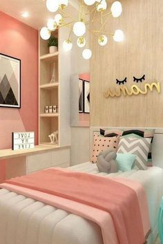 21 Cute Bedroom Ideas Girls 4 with beautiful wall decor - Best Home Design Ideas Teen Bedroom Colors, Teenage Girl Bedroom Decor, Room Decor For Teen Girls, Pink Bedroom Design, Cute Bedroom Ideas, Girl Bedroom Designs, Small Room Bedroom, Home Decor Bedroom, Bed Room