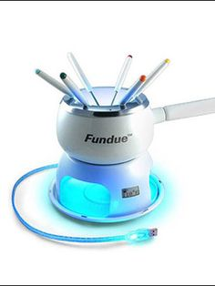 ThinkGeek :: Fundue - desktop USB Fondue Set - for those with waay too much time on their hands Computer Gadgets, Usb Gadgets, Cool Gadgets, Computer Shop, Office Gadgets, Fondue, Cool Technology, Apple Products, Kitchen Gadgets