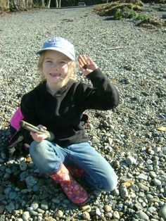 Grandpa's Metal Detecting Buddy Jamison with her first find at Alder Lake