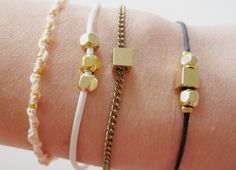Dainty String and Metal ~ Cute, dainty little bracelets for any occasion using metal beads.   See the step by step photos at Dawanda.