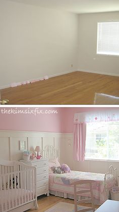 Little Girls' Shared bedroom.. Pink paint  (Carnation by Martha Stewart) and board and batten.