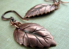 Earrings  Copper Birch Leaf with Rosy Finish by MairzyDozy on Etsy, $8.00