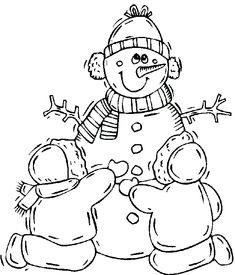 Snowman Near And Tree Christmas Winter Coloring Page | Winter ...
