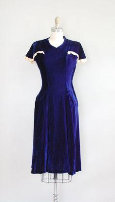 1930s Velvet Dress with Cape Sleeves
