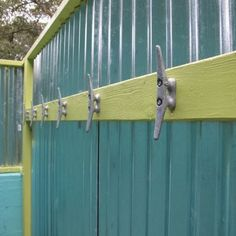 Jane Coslick Cottages. Corrugated tin for outside shower