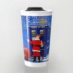 10th Doctor who Santa claus TRAVEL MUG #travelmug #10th #DoctorWho #digital #acrylic #comic #cartoon #illustration #christmas #newyear #tardisdoctorwho #tardis #timelord #badwolf #drwho #timetravel #scifi