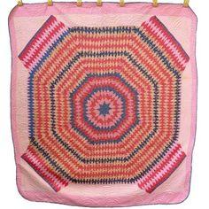 INTRIGUING-grand-STAR-of-Bethlehem-VARIATION-time-span-antique-quilt-6-8spi-pink