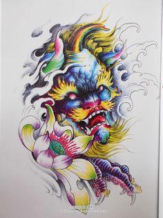 彩色唐狮荷花纹身手稿