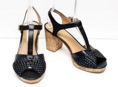 Bass Zaney Black T-Strap Chunky Cork Heel Shoes Size 8.5 #Bass #PlatformsWedges