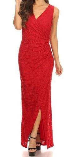 ledyzfashions.com #shoplfb    Gorgeous red sparkling red wrap long slit maxi dress that is the perfect dress for your net formal event. This dress offers all over stretch to accentuate your curves. This is the perfect red bridesmaid maxi dress, red evening maxi dress, red cocktail maxi dress, red long gown and red gala maxi dress. Looking for the perfect red holiday dress or work party dress? You will love this amazing dress! Also a stunning red homecoming dress and red prom dress!