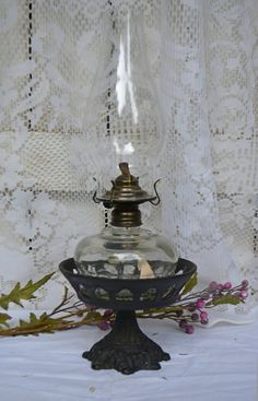 Vintage Oil Lamp Sconce Cast Iron Table Oil by Vintassentials
