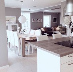 Kitchen facing dining table and living room instead of the usual? House Design, Interior Design, House Interior, Home, Home Kitchens, Interior, Dining Room Decor, Home And Living, Home Living Room