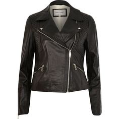 River Island Black leather fitted biker jacket ($240) ❤ liked on Polyvore featuring outerwear, jackets, biker jackets, black, coats / jackets, women, real leather jacket, black jacket, biker jacket and leather jacket