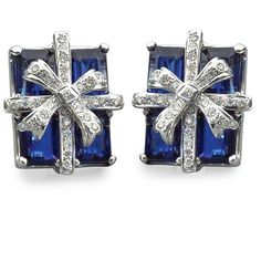 Royal Blue Kyanite Gift Package Earrings ($8,500) ❤ liked on Polyvore featuring jewelry, earrings, royal blue earrings, 18 karat gold jewelry, ribbon jewelry, white gold jewellery and 18k white gold jewelry