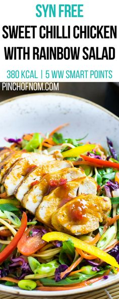 Syn Free Sweet Chilli Chicken with Rainbow Salad | Pinch Of Nom Slimming World Recipes 380 kcal | Syn Free | 5 Weight Watchers Smart Points
