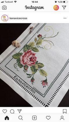 Cross Stitch Borders, Cross Stitch Flowers, Cross Stitch Designs, Cross Stitch Patterns, Hand Embroidery Art, Cross Stitch Embroidery, Embroidery Patterns, Crochet Patterns, Decoration Table