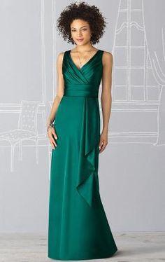 Cheap A-line V-neck Empire Elastic Satin Dark Green Floor length Bridesmaid Dress