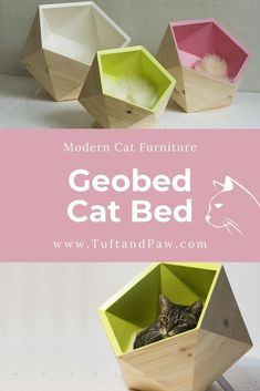 The award-winning Geobed is as innovative as it is practical. Your cat can be the owner of a piece of designer furniture. It's preassembled, geometric. Modern Cat Furniture, Pet Furniture, Furniture Design, Furniture Buyers, Small Cushions, Faux Fur Blanket, Scratching Post, Animal House, Cat Toys