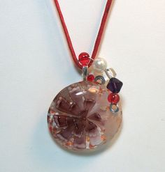 Red and Purple Glass Flower Glass pendant by lindab142 on Etsy, $11.00 #jewelry #necklace #glass