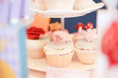 Fun adventure awaits inside this Alice in Wonderland Birthday Tea Party featured at Kara's Party Ideas. Tea Party Birthday, Birthday Ideas, Alice In Wonderland Birthday, Mad Hatter Tea, Mini Cupcakes, Favors, Party Ideas, Desserts, Fun
