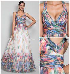 A-line/Princess Straps Floor-length Print Chiffon Evening Dress