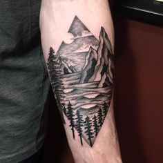 Mountains/waves/trees--thanks Mike! #portlandtattoos #portlandtattoo by lauragrahamma
