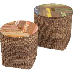 Weathered tops give these woven designs a touch of DIY allure. Line them with grocery bags for clever lidded wastebaskets, or set them on the hearth as a sty...