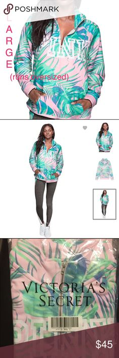 "Vs Pink Campus Quarter Zip Palm/Tropical Large Brand new in online packaging! Color: Palm/Tropical print Size: Large but runs oversized  This super comfy quarter-zip will definitely be in high rotation this season! Designed with a relaxed fit and a cute mock neck collar with a zip closure. Logo graphics make this a standout fave. Check out the matching Classic Jogger to make it an outfit.  Super soft fleece 25.5"" length Relaxed Fit Logo graphics Mock neck collar Quarter-zip closure Imported…"