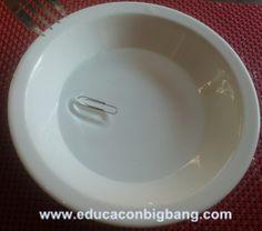 Tension superficial del agua clip que flota