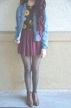 skirt . booties , tights , skirt , sunflower , denim .