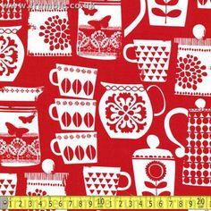 Michael Miller Fabric PUT A LID ON IT CLEMENTINE FQ Scandi Retro Tea Coffee | eBay
