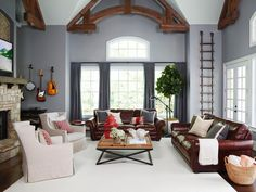 An inside look at Chip Wade's home including this great room with 20-foot-high vaulted ceiling #hgtvmagazine http://www.hgtv.com/design/decorating/design-101/chip-wade-off-duty-pictures?soc=pinterest