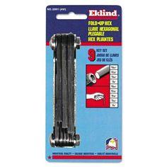 Eklind N91 Classic Fold-Up Tool, 9-Piece Hex Set, SAE, Polished Steel/Black Oxide, Multicolor