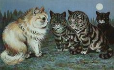 Cats in the moonlight | by Louis Wain