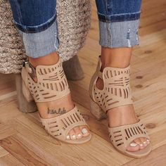 Dropship 2019 Women Sandals Women Vintage Hollow Out Peep Toe Square Heel Wedges Sandals High Heels Shoes Zapatos Mujer Low Heel Sandals, Ankle Strap Heels, Wedge Sandals, Block Sandals, Leather Sandals, Strap Sandals, Shoes Sandals, Leopard Sandals, Flat Shoes