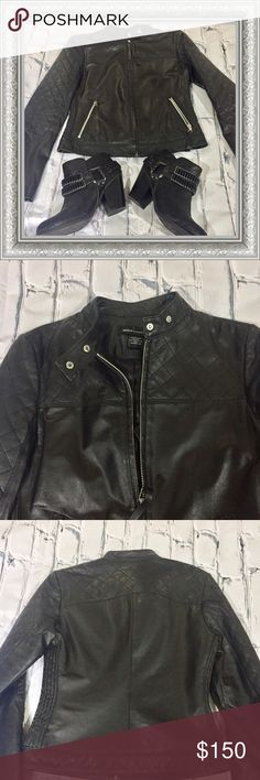 RARE!! VS Moda International Leather Moto Jacket Victoria's Secret Moda International Leather Moto Jacket with Zipper Details on Pockets and Sleeves. 100% Genuine Leather. Lining 100% Polyester. Victoria's Secret Moda International Jackets & Coats