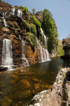 Chapada dos Veadeiros Almácegas Waterfall, Alto Paraíso de Goiás, Brasil
