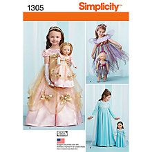 Buy Simplicity Girls' & Dolls' Matching Costumes Sewing Patterns, 1305 Online at johnlewis.com