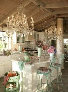 """The Chandeliers Give this Cottage Chic Kitchen the """"Wow Factor""""!"""