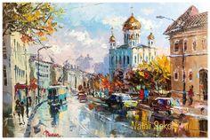 Купить Храм Христа Спасителя в Москве, холст на подрамнике 40х60