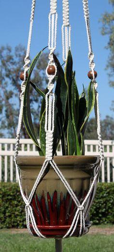 MARRAKESH #Handmade Macrame Plant Hanger in NATURAL WHITE by #ChironCreations http://etsy.me/2xN5fbM via @Etsy #etsy #homedecor #patiodecor #yard #backyard #garden #apartment #decor #retro #boho #patio #plants #plantholder #hangingplants #hangingplanter #containerplants #home