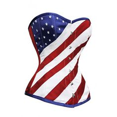CD-621 - Flag of United States - Steel boned overbust corsets - Steel Boned Corsets