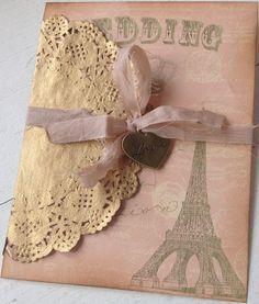 8 x Personalised Paris Shabby Chic  Handmade Save the Date Wedding Invitations