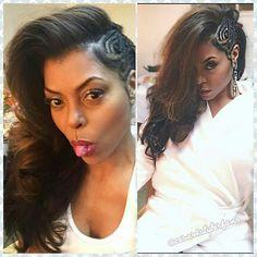 The Look: Taraji P. Henson's Side Swept Braid StyleGet The Look: Taraji P. Henson's Side Swept Braid Style Black Girls Hairstyles, Pretty Hairstyles, Braided Hairstyles, Tree Braids Hairstyles, Top Hairstyles, Protective Hairstyles, Love Hair, Gorgeous Hair, Curly Hair Styles