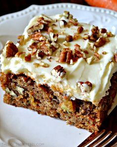 This truly is the BEST EVER Carrot Cake Moist fluffy tender spiced cake filled with juicy pineapple crunchy pecans fresh carrots and aromatic spices topped with an orange-spiked cream cheese icing So perfect a total crowd-pleasing impressive cake Carrot Cake Topping, Carrot Spice Cake, Best Carrot Cake, Carrot Sheet Cake Recipe, Carrot Cake Bars, Carrot Cake Cupcakes, Cake Cookies, Cake With Cream Cheese, Cream Cheese Frosting