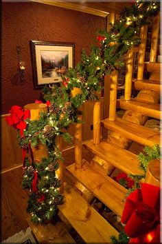 Cute Log Cabin Christmas Decorations We do steps and railings like this. Lodgepole by PineRidge do steps and railings like this. Lodgepole by PineRidge Log Cabin Christmas, Cool Christmas Trees, Christmas Tree Toppers, Outdoor Christmas, Diy Christmas Gifts, Rustic Christmas, Christmas Tree Decorations, Christmas Lights, Holiday Decor